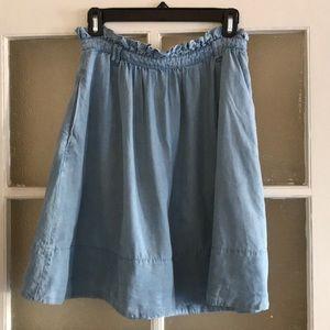 Chambray Anthropologie Mini Skirt